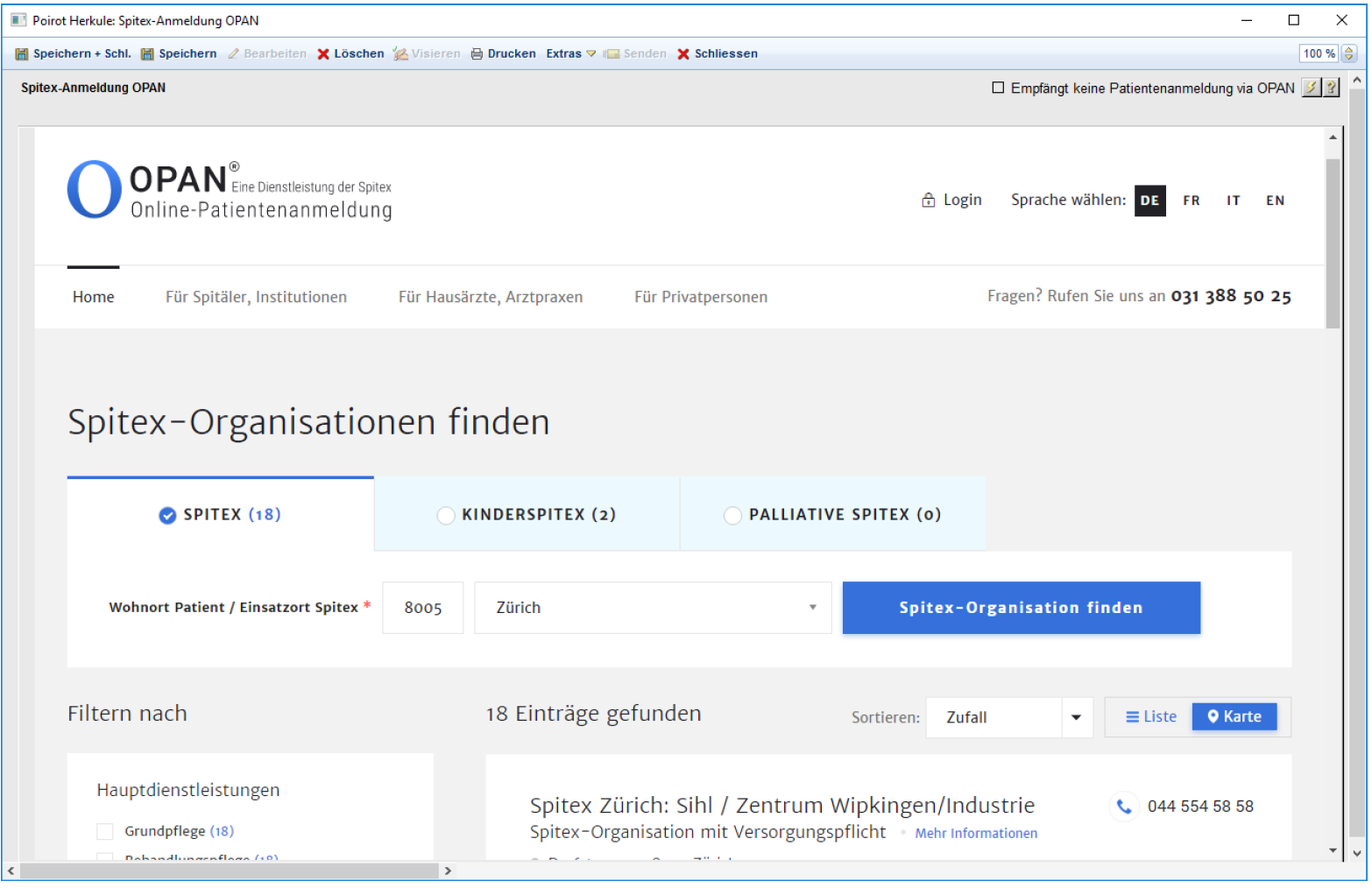 Integrated, embedded querying of the OPAN website in the Spitex registration in KISIM